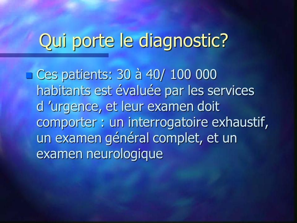 Qui porte le diagnostic? n Ces patients: 30 à 40/ 100 000 habitants est évaluée par les services d urgence, et leur examen doit comporter : un interro