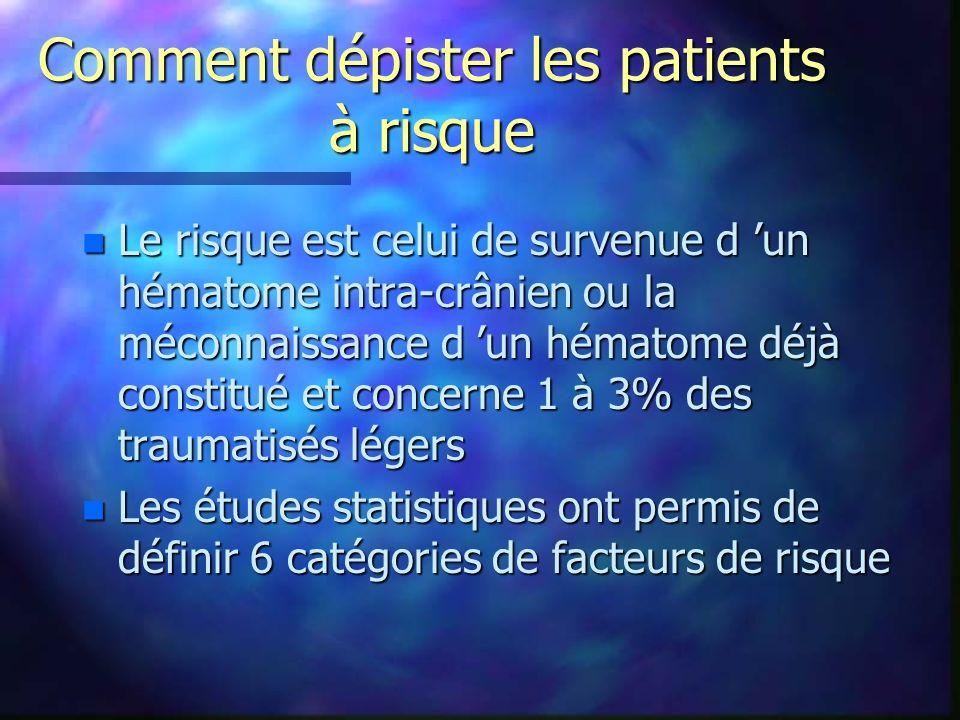 Comment dépister les patients à risque n Le risque est celui de survenue d un hématome intra-crânien ou la méconnaissance d un hématome déjà constitué