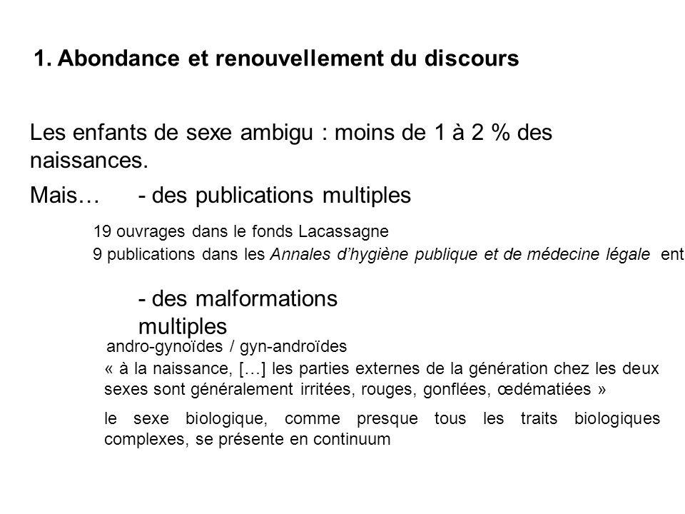 1. Abondance et renouvellement du discours Les enfants de sexe ambigu : moins de 1 à 2 % des naissances. Mais…- des publications multiples 19 ouvrages