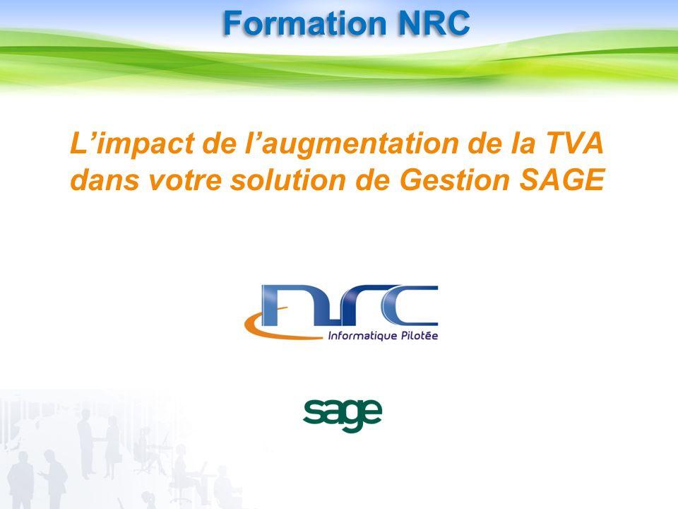 Limpact de laugmentation de la TVA dans votre solution de Gestion SAGE Formation NRC