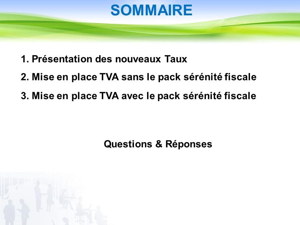 SOMMAIRE 1. Présentation des nouveaux Taux 2. Mise en place TVA sans le pack sérénité fiscale 3.