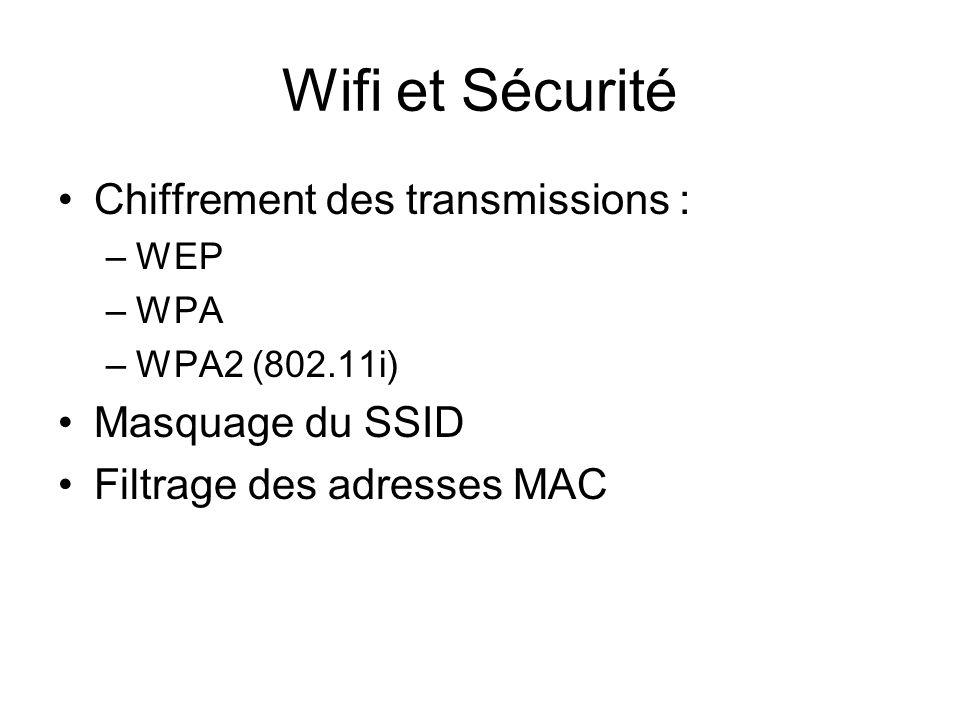 Wifi et Sécurité Chiffrement des transmissions : –WEP –WPA –WPA2 (802.11i) Masquage du SSID Filtrage des adresses MAC
