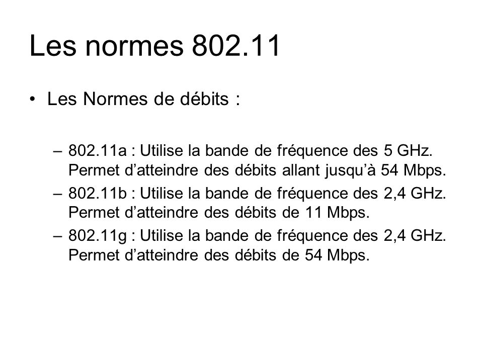 Les normes 802.11 Les Normes de débits : –802.11a : Utilise la bande de fréquence des 5 GHz. Permet datteindre des débits allant jusquà 54 Mbps. –802.