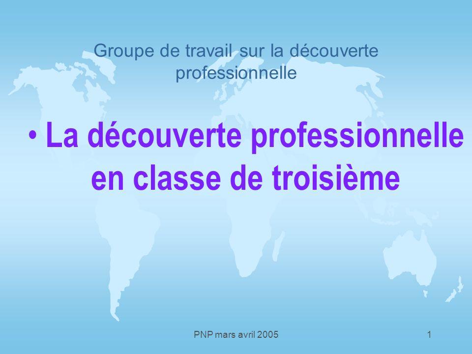 PNP mars avril 20051 Groupe de travail sur la découverte professionnelle La découverte professionnelle en classe de troisième