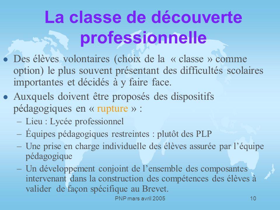 PNP mars avril 200510 La classe de découverte professionnelle l Des élèves volontaires (choix de la « classe » comme option) le plus souvent présentant des difficultés scolaires importantes et décidés à y faire face.