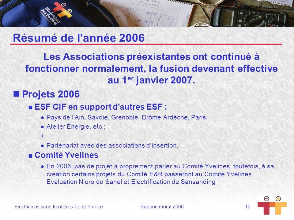 Électriciens sans frontières Ile de France Rapport moral 2006 10 Résumé de l'année 2006 Les Associations préexistantes ont continué à fonctionner norm