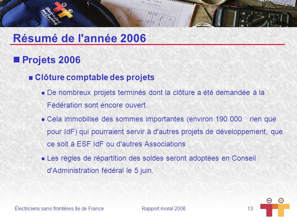Électriciens sans frontières Ile de France Rapport moral 2006 13 Résumé de l'année 2006 Projets 2006 Clôture comptable des projets De nombreux projets