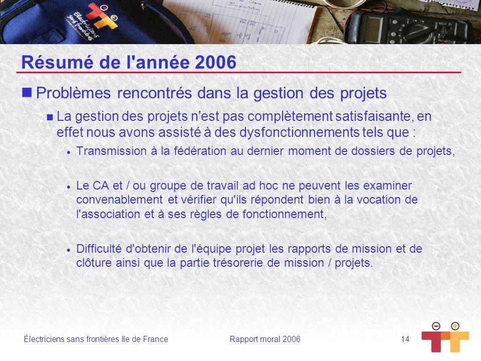 Électriciens sans frontières Ile de France Rapport moral 2006 14 Résumé de l'année 2006 Problèmes rencontrés dans la gestion des projets La gestion de