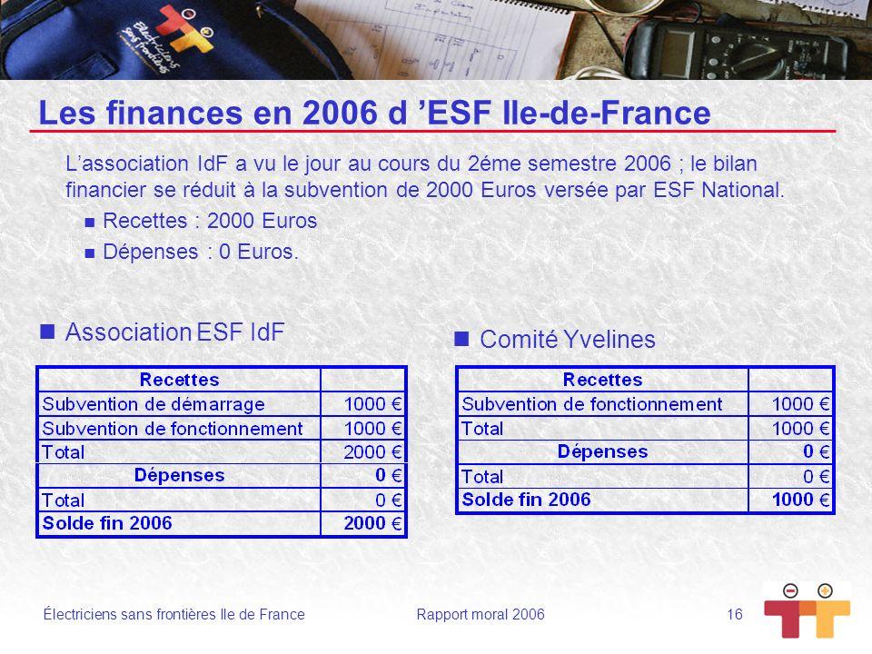 Électriciens sans frontières Ile de France Rapport moral 2006 16 Les finances en 2006 d ESF Ile-de-France Lassociation IdF a vu le jour au cours du 2é
