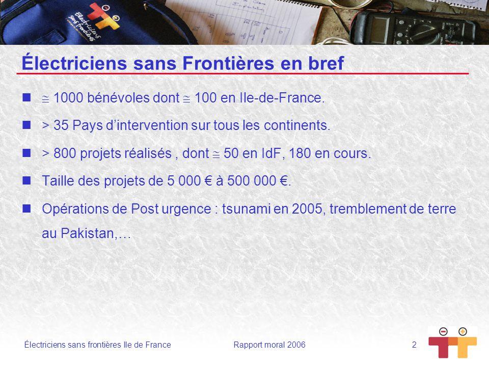 Électriciens sans frontières Ile de France Rapport moral 2006 2 Électriciens sans Frontières en bref 1000 bénévoles dont 100 en Ile-de-France. > 35 Pa