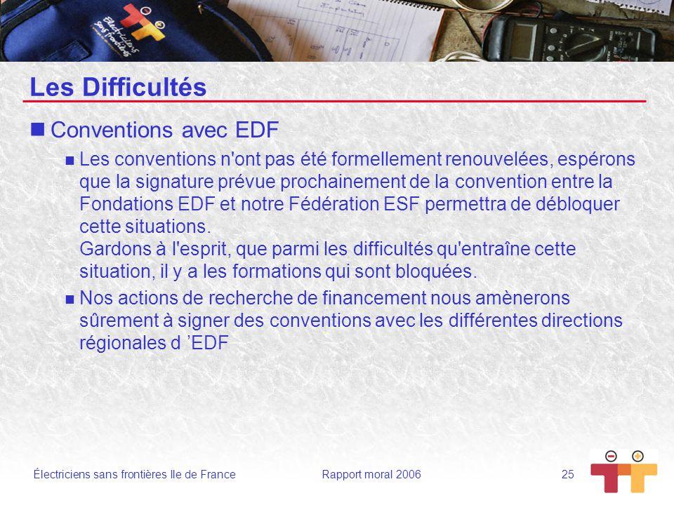Électriciens sans frontières Ile de France Rapport moral 2006 25 Les Difficultés Conventions avec EDF Les conventions n'ont pas été formellement renou