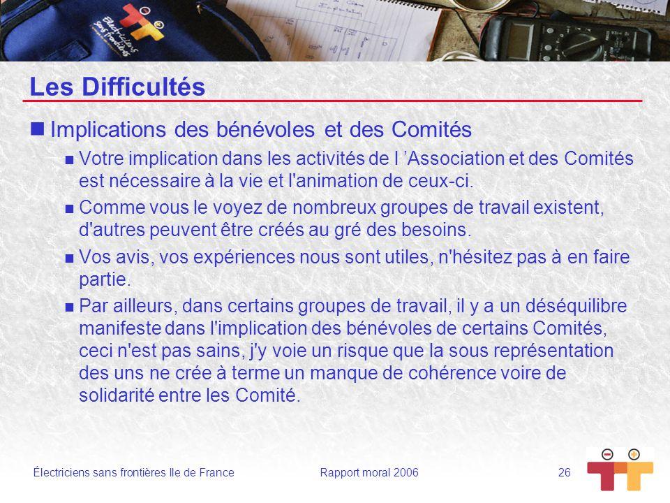 Électriciens sans frontières Ile de France Rapport moral 2006 26 Les Difficultés Implications des bénévoles et des Comités Votre implication dans les