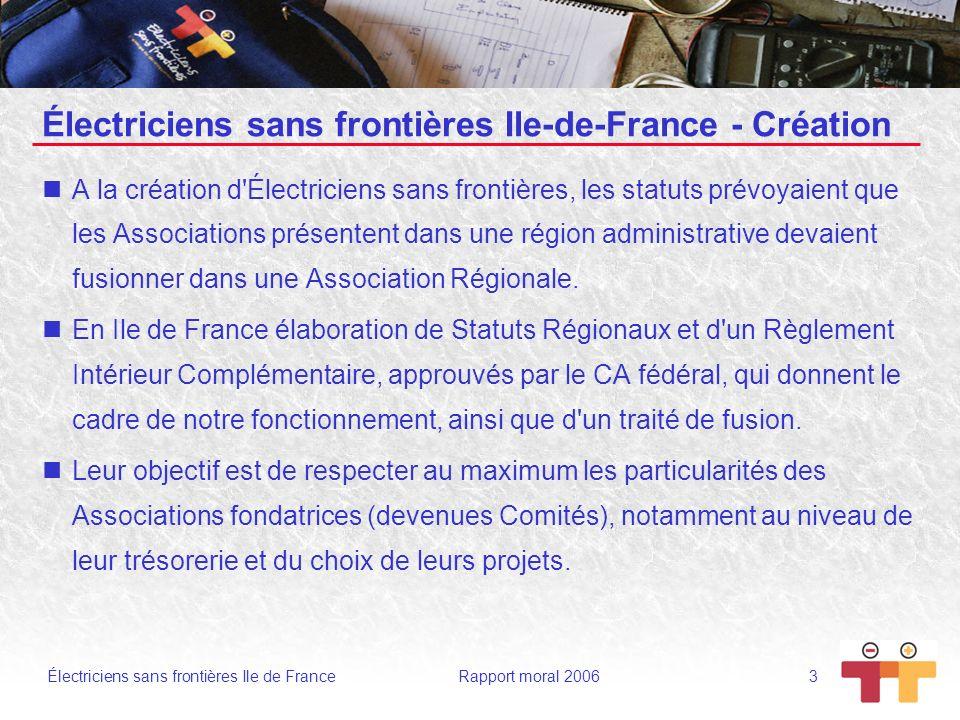 Électriciens sans frontières Ile de France Rapport moral 2006 24 Les Difficultés Locaux et logistiques Il ne faut pas oublier que deux de nos Comités sont SDF , c est à dire qu il n ont pas de locaux en propre, souhaitons que 2007 les voient trouver ce qu ils recherchent.