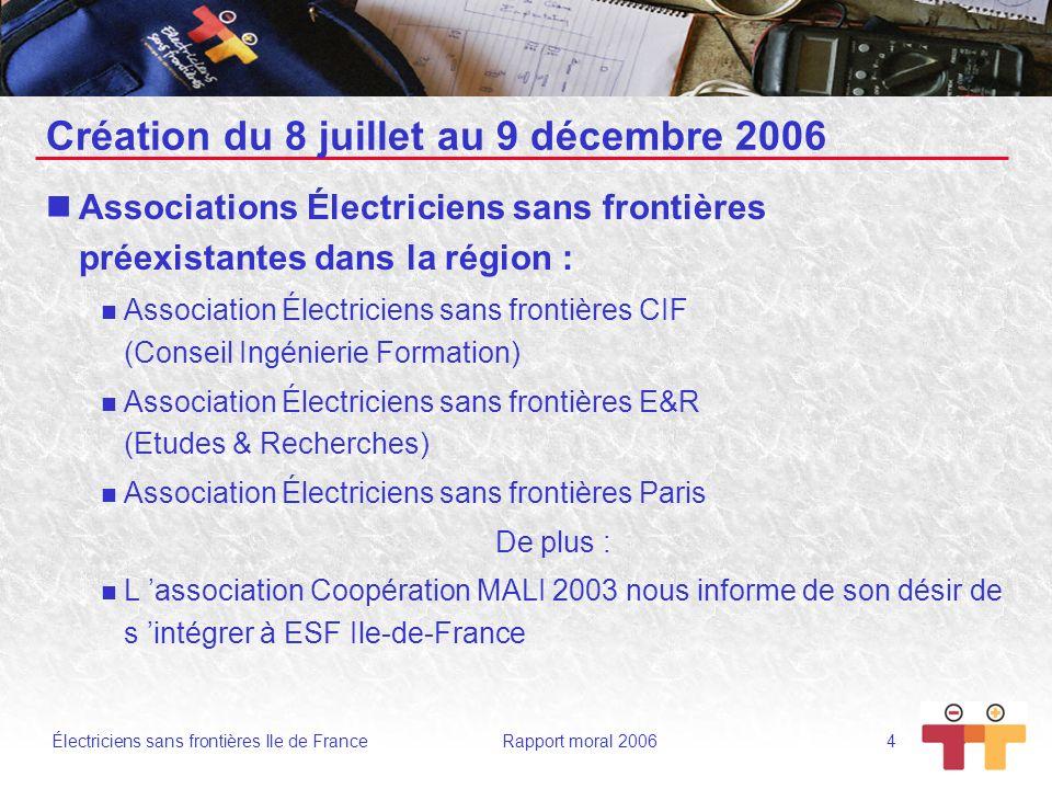 Électriciens sans frontières Ile de France Rapport moral 2006 5 Les principales étapes de la créations d ESF IdF Le 8 juillet 2006 : Constitution de l Association Électriciens sans Frontières Ile-de-France.