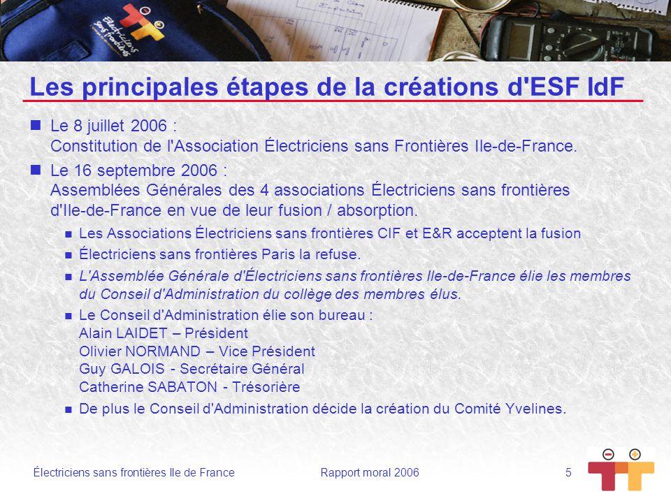 Électriciens sans frontières Ile de France Rapport moral 2006 6 Les principales étapes de la créations d ESF IdF Les 21 septembre et 22octobre 2006 - CA d ESF IdF Suite au rejet par ESF Paris du Traité de fusion, le CA dESF IdF indique aux adhérents dESF Paris que s ils décidaient de demander à adhérer à ESF IdF : Cette demande serait accueillie favorablement.