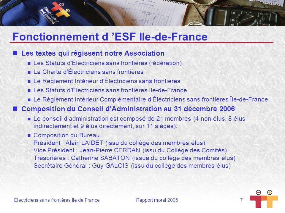 Électriciens sans frontières Ile de France Rapport moral 2006 7 Fonctionnement d ESF Ile-de-France Les textes qui régissent notre Association Les Stat