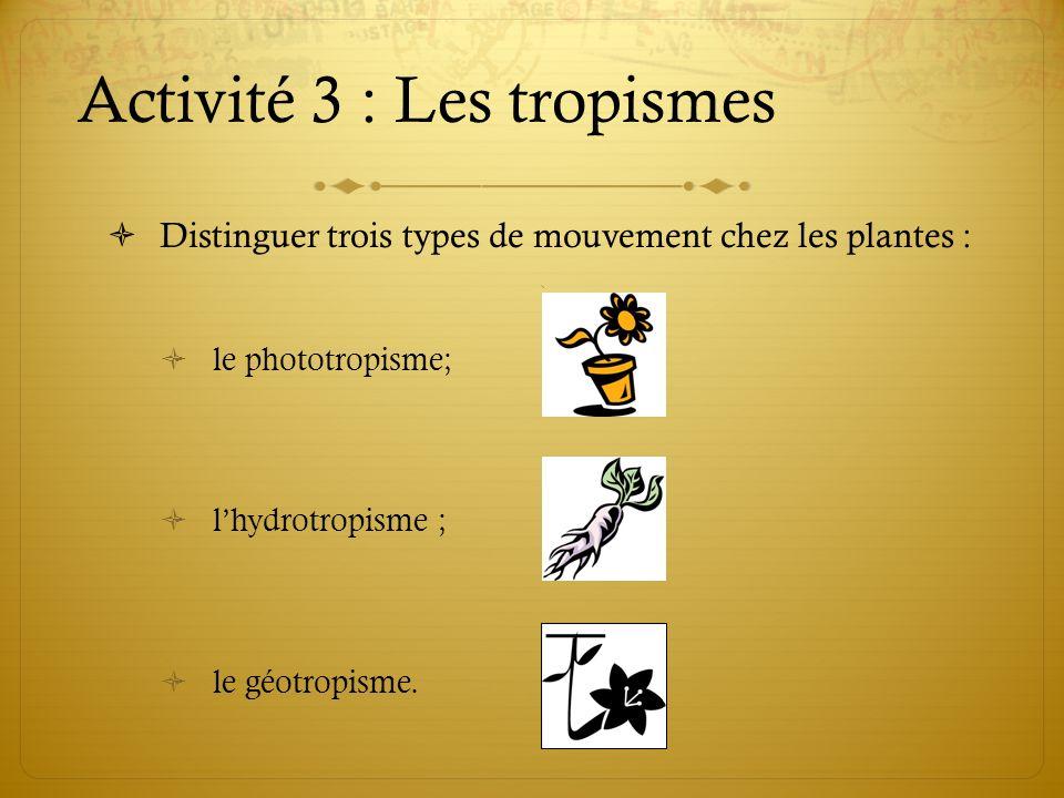 Activité 3 : Les tropismes Distinguer trois types de mouvement chez les plantes : le phototropisme; lhydrotropisme ; le géotropisme.