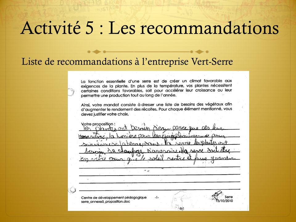 Activité 5 : Les recommandations Liste de recommandations à lentreprise Vert-Serre