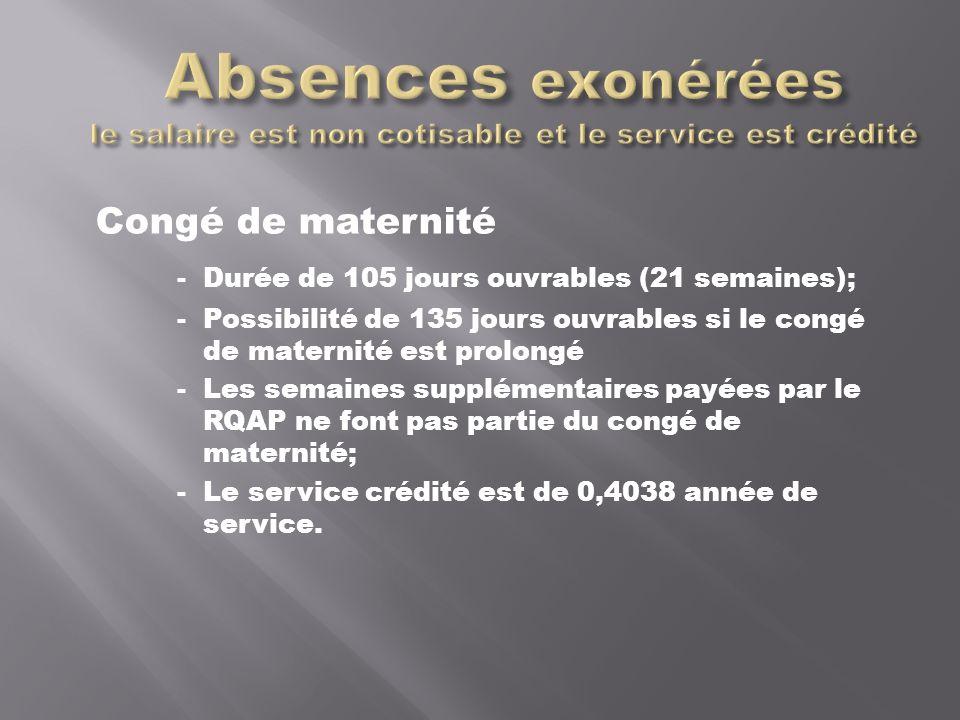 Congé de maternité - Durée de 105 jours ouvrables (21 semaines); - Possibilité de 135 jours ouvrables si le congé de maternité est prolongé - Les semaines supplémentaires payées par le RQAP ne font pas partie du congé de maternité; - Le service crédité est de 0,4038 année de service.