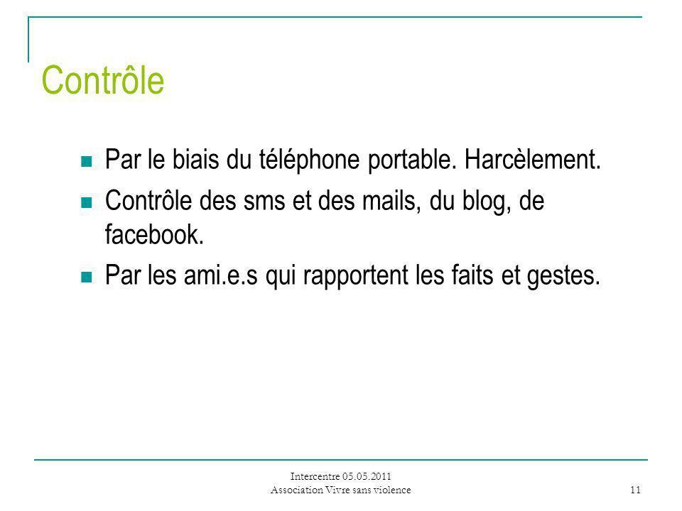 Intercentre 05.05.2011 Association Vivre sans violence 11 Contrôle Par le biais du téléphone portable.