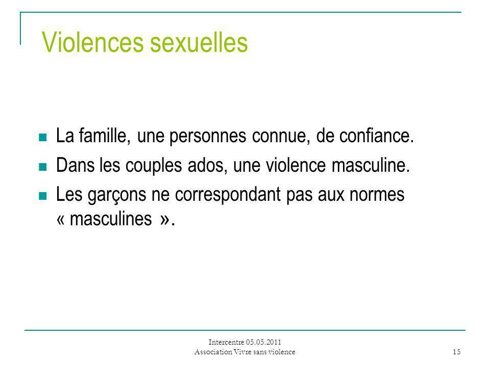 Intercentre 05.05.2011 Association Vivre sans violence 15 Violences sexuelles La famille, une personnes connue, de confiance.