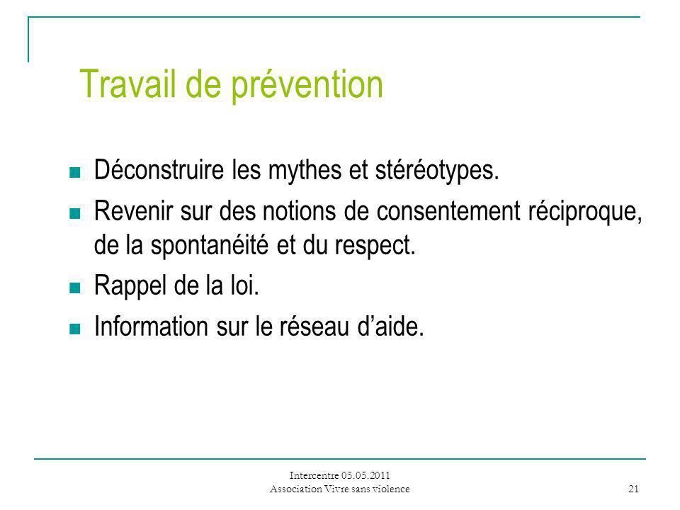 Intercentre 05.05.2011 Association Vivre sans violence 21 Travail de prévention Déconstruire les mythes et stéréotypes.