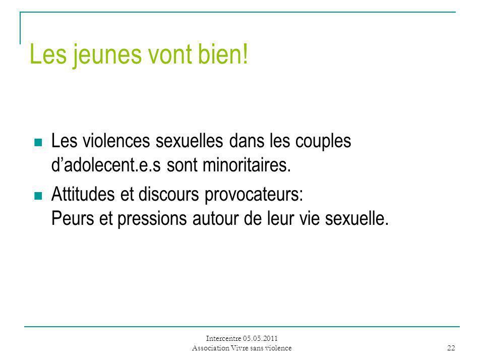Intercentre 05.05.2011 Association Vivre sans violence 22 Les jeunes vont bien.