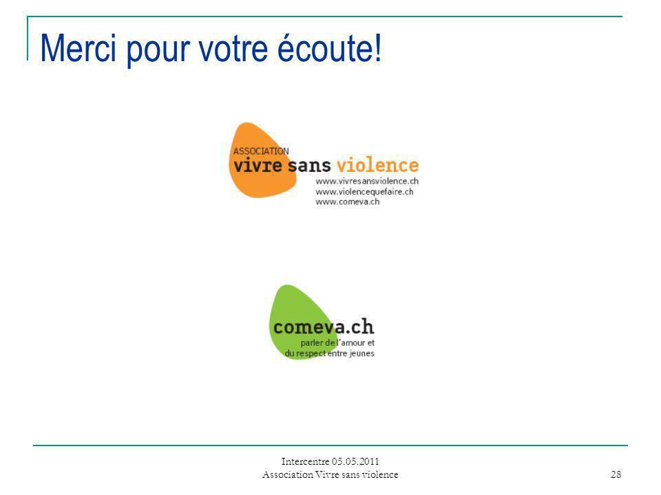 Intercentre 05.05.2011 Association Vivre sans violence 28 Merci pour votre écoute!