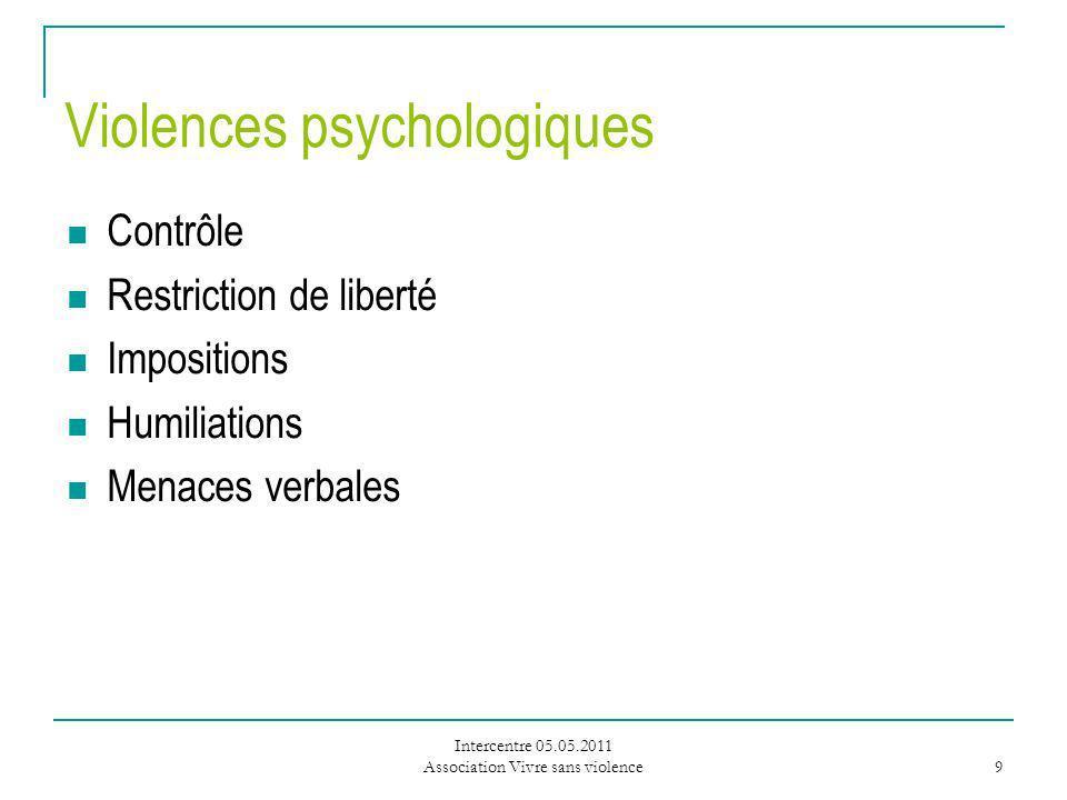 Intercentre 05.05.2011 Association Vivre sans violence 9 Violences psychologiques Contrôle Restriction de liberté Impositions Humiliations Menaces verbales
