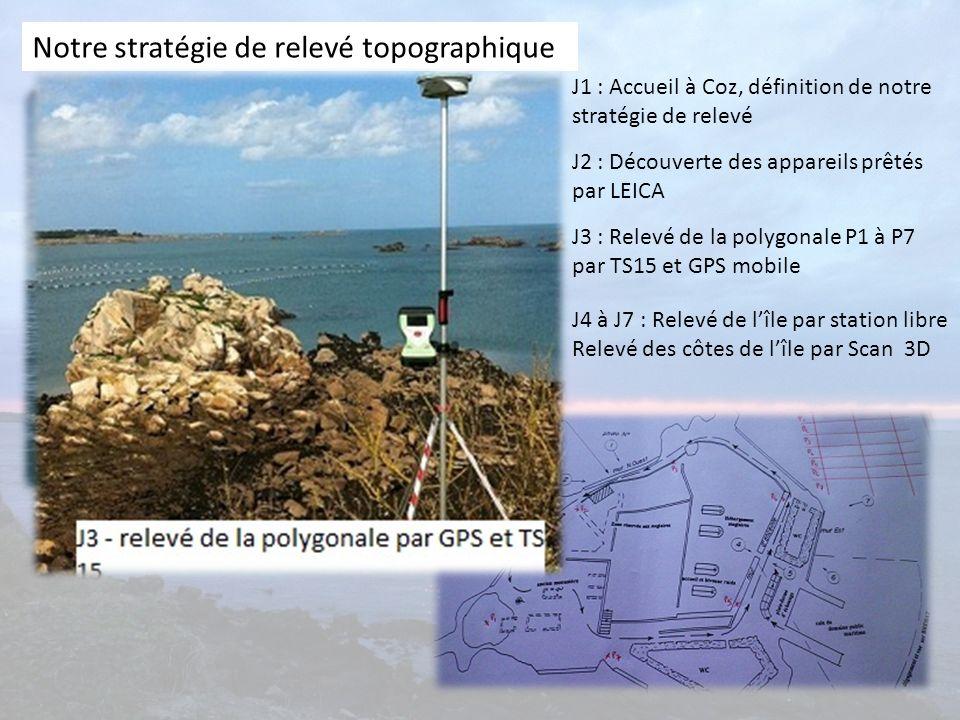 Notre stratégie de relevé topographique J1 : Accueil à Coz, définition de notre stratégie de relevé J2 : Découverte des appareils prêtés par LEICA J3