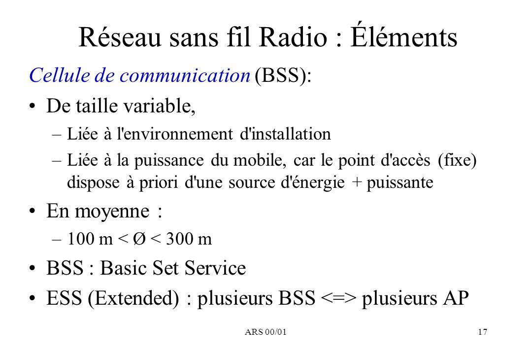 ARS 00/0117 Réseau sans fil Radio : Éléments Cellule de communication (BSS): De taille variable, –Liée à l'environnement d'installation –Liée à la pui