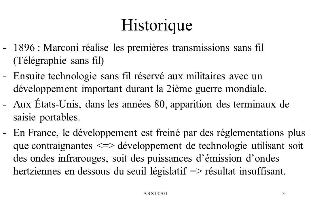 ARS 00/013 Historique -1896 : Marconi réalise les premières transmissions sans fil (Télégraphie sans fil) -Ensuite technologie sans fil réservé aux mi