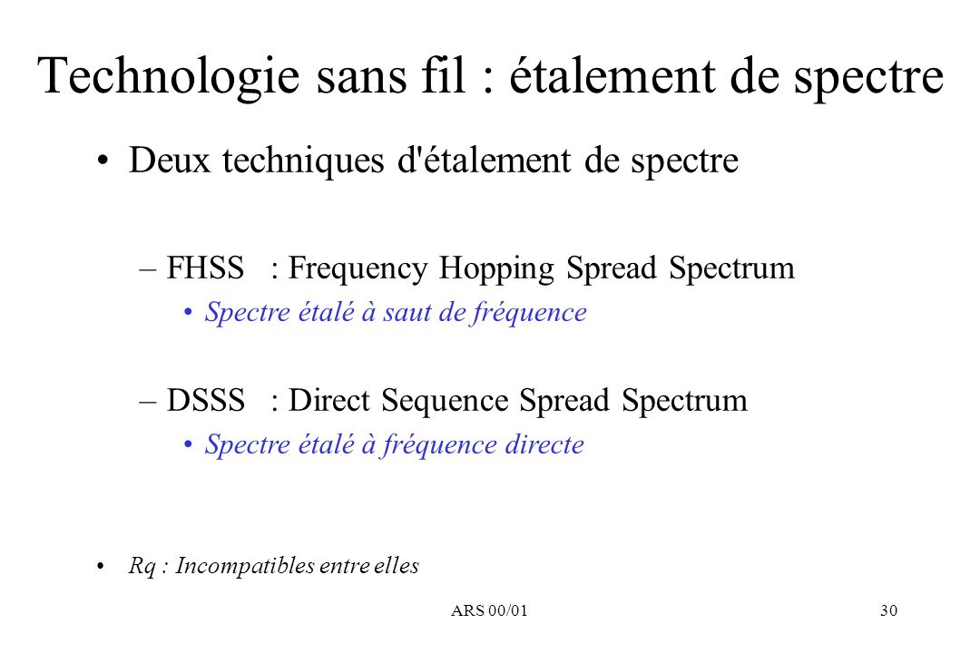 ARS 00/0130 Deux techniques d'étalement de spectre –FHSS: Frequency Hopping Spread Spectrum Spectre étalé à saut de fréquence –DSSS: Direct Sequence S