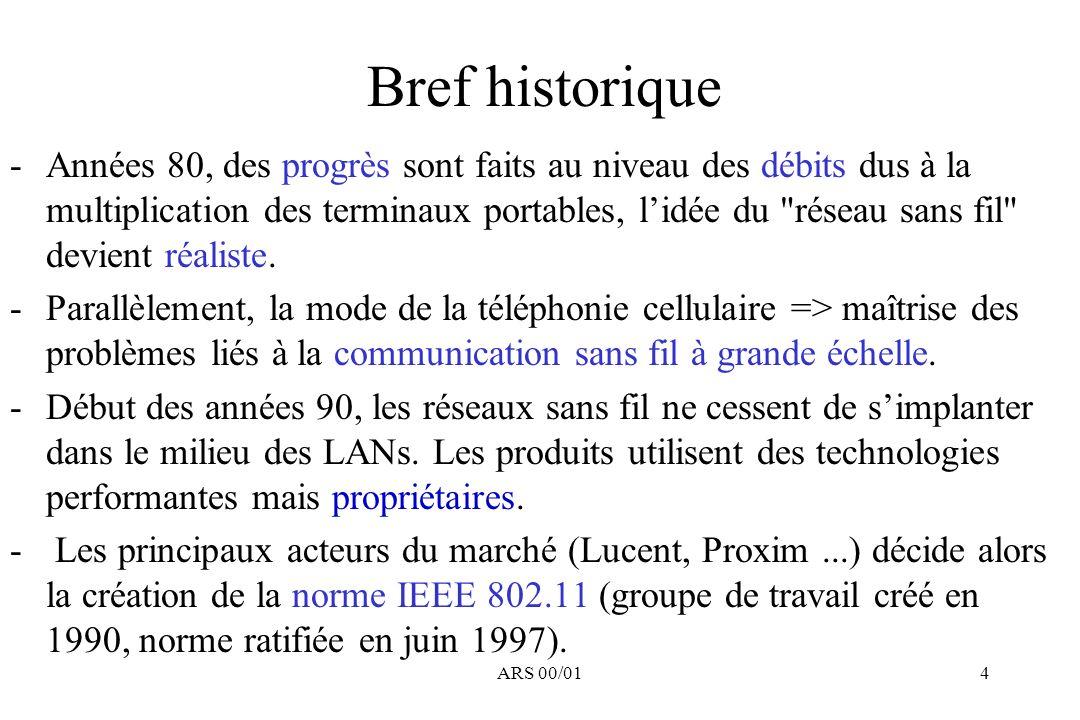 ARS 00/014 Bref historique -Années 80, des progrès sont faits au niveau des débits dus à la multiplication des terminaux portables, lidée du