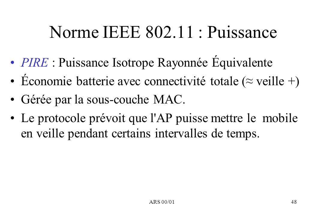ARS 00/0148 Norme IEEE 802.11 : Puissance PIRE : Puissance Isotrope Rayonnée Équivalente Économie batterie avec connectivité totale ( veille +) Gérée