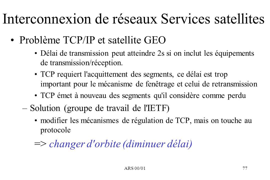 ARS 00/0177 Interconnexion de réseaux Services satellites Problème TCP/IP et satellite GEO Délai de transmission peut atteindre 2s si on inclut les éq