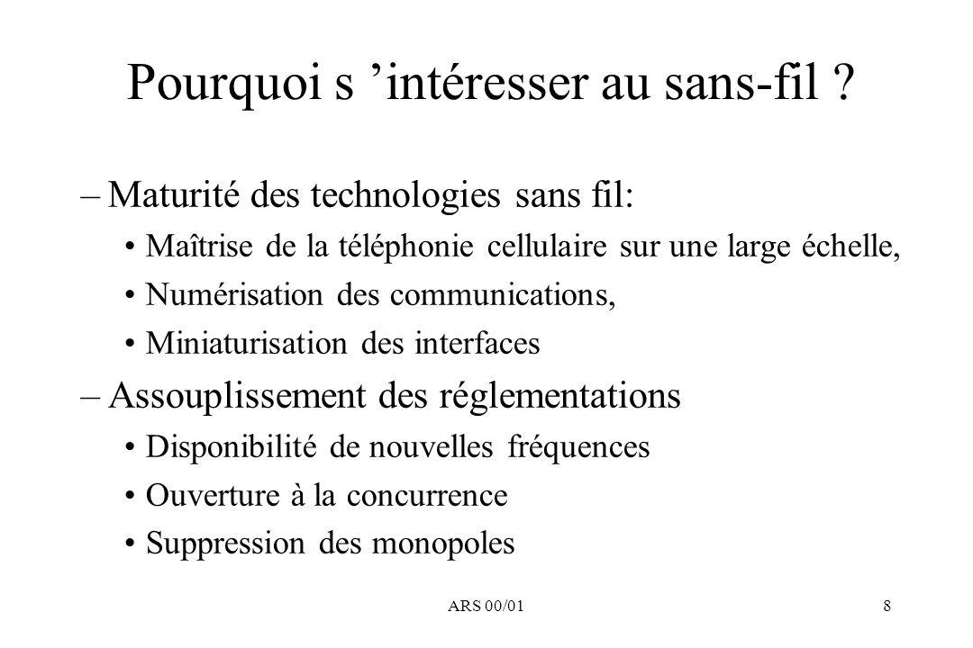 ARS 00/018 Pourquoi s intéresser au sans-fil ? –Maturité des technologies sans fil: Maîtrise de la téléphonie cellulaire sur une large échelle, Numéri