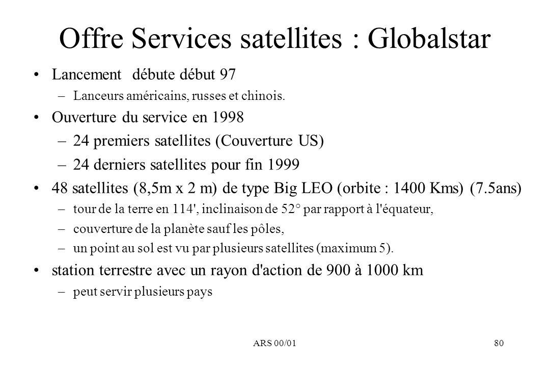 ARS 00/0180 Offre Services satellites : Globalstar Lancement débute début 97 –Lanceurs américains, russes et chinois. Ouverture du service en 1998 –24