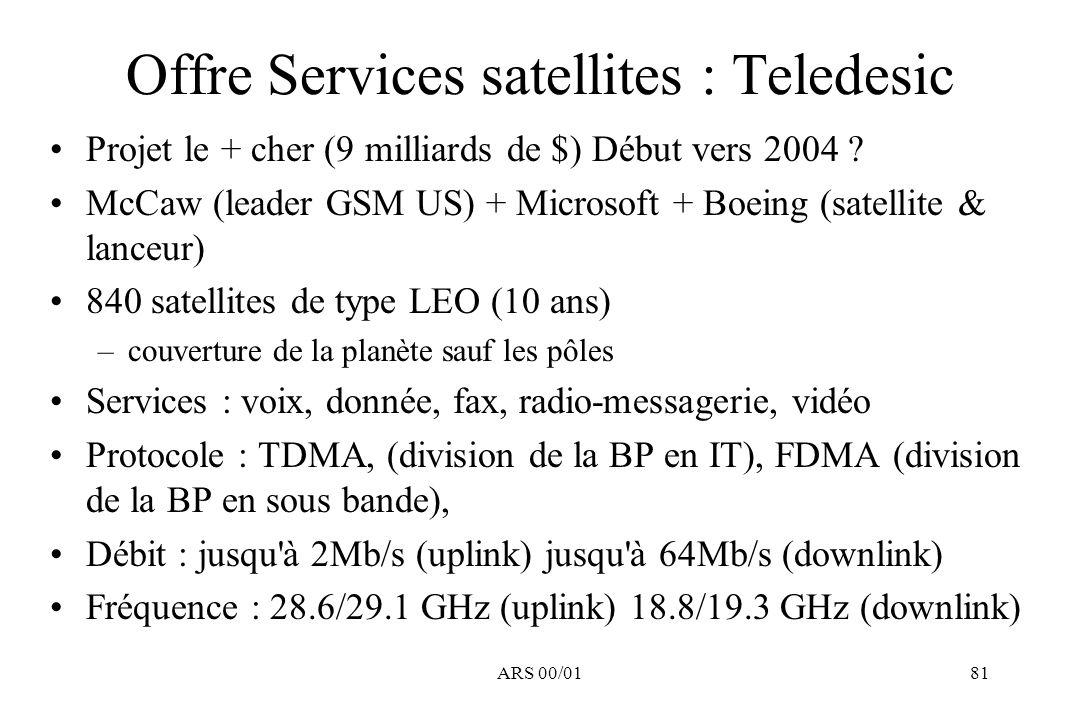 ARS 00/0181 Offre Services satellites : Teledesic Projet le + cher (9 milliards de $) Début vers 2004 ? McCaw (leader GSM US) + Microsoft + Boeing (sa