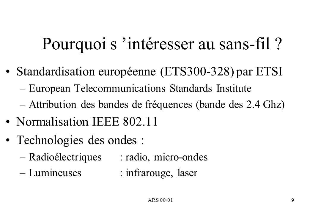 ARS 00/019 Pourquoi s intéresser au sans-fil ? Standardisation européenne (ETS300-328) par ETSI –European Telecommunications Standards Institute –Attr