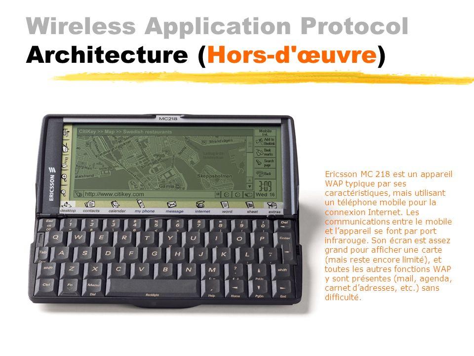 Wireless Application Protocol Architecture ( Protocoles) JWTP (optionnel) envoie requêtes (simple, garantie, avec réponse) JWTLS (optionnel) Jintégrit