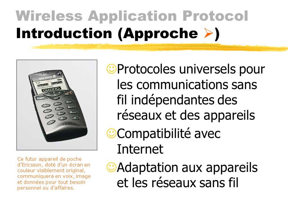 Wireless Application Protocol Introduction (Objectifs) JIntégrer les services Internet dans les appareils mobiles JLa mobilité croissante des utilisat