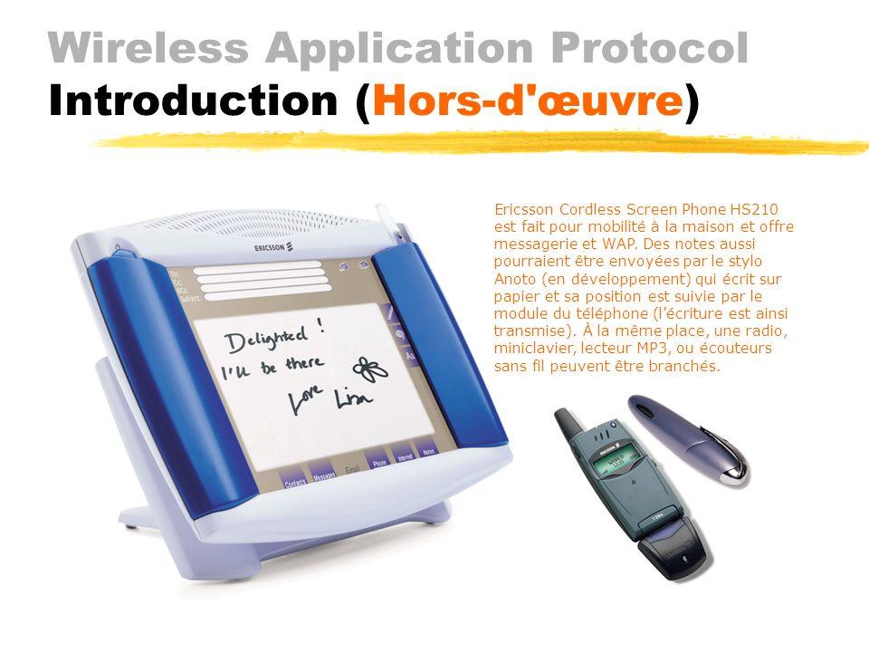 Wireless Application Protocol Introduction (Support) Limportance du WAP vient également par le fait quil est promu, développé et supporté par des noms