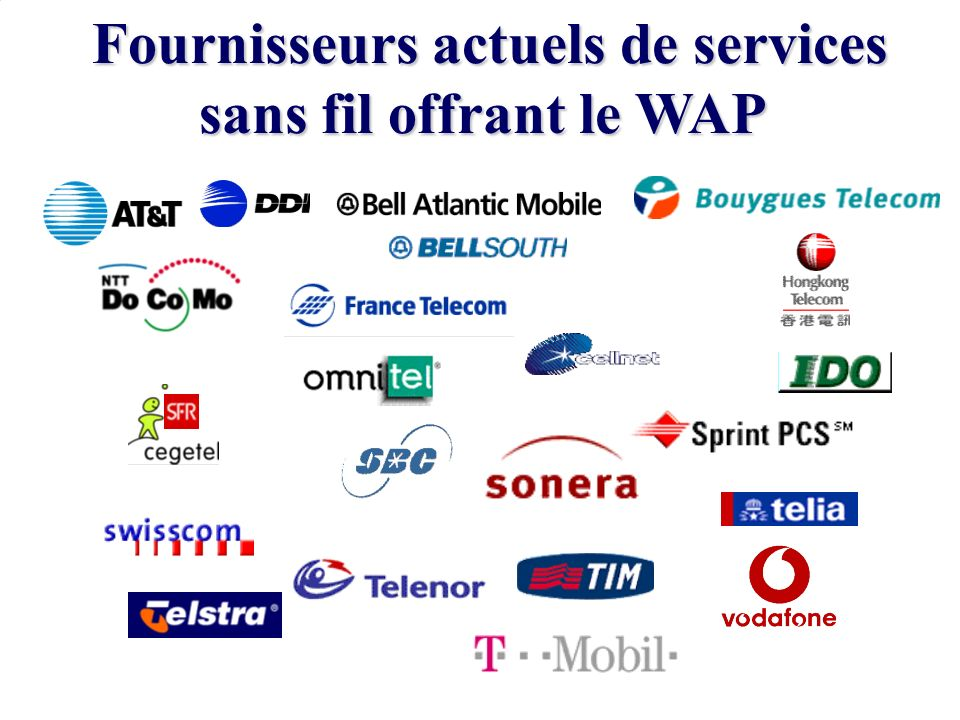 Fournisseurs actuels de services sans fil offrant le WAP