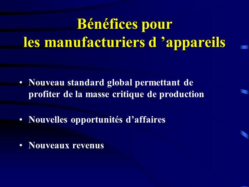 Bénéfices pour les manufacturiers d appareils Nouveau standard global permettant de profiter de la masse critique de production Nouvelles opportunités daffaires Nouveaux revenus