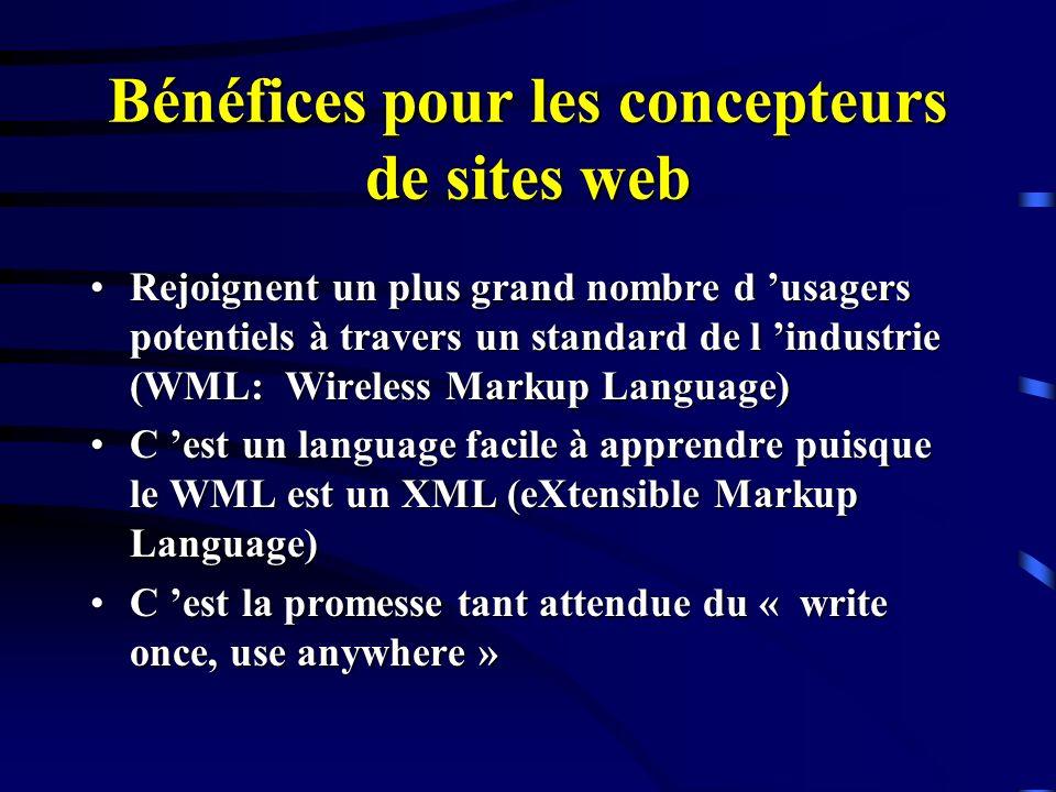 Bénéfices pour les concepteurs de sites web Rejoignent un plus grand nombre d usagers potentiels à travers un standard de l industrie (WML: Wireless M