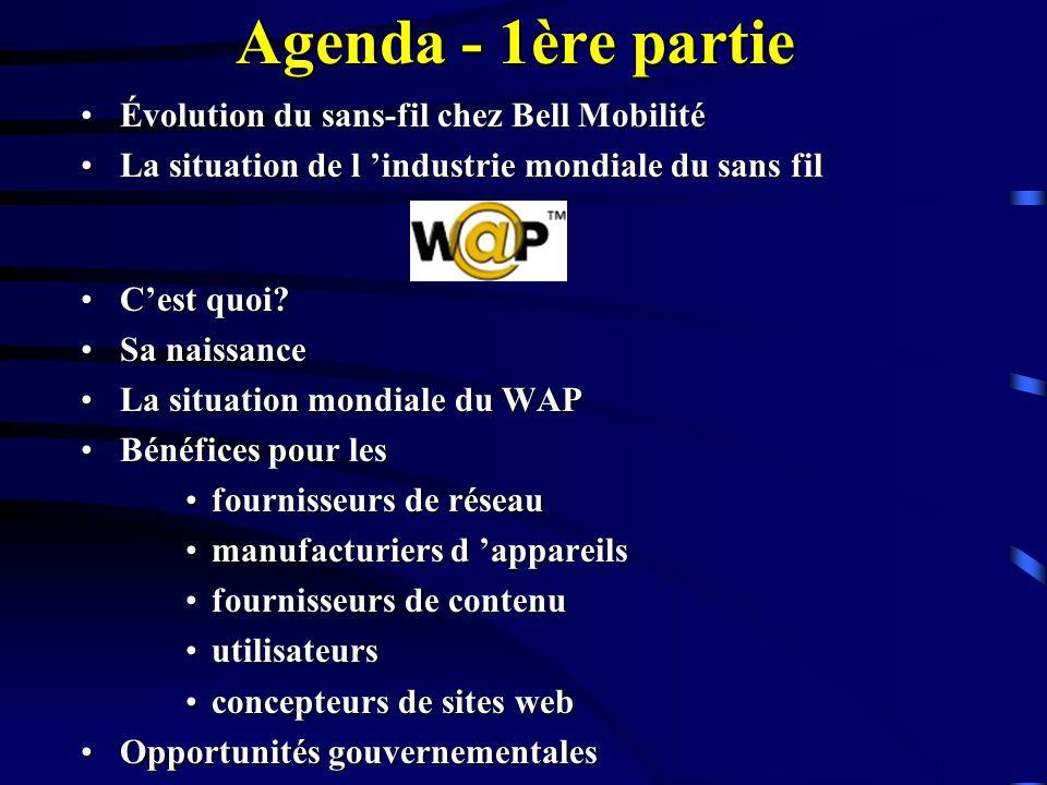 Agenda - 1ère partie Évolution du sans-fil chez Bell MobilitéÉvolution du sans-fil chez Bell Mobilité La situation de l industrie mondiale du sans filLa situation de l industrie mondiale du sans fil Cest quoi?Cest quoi.