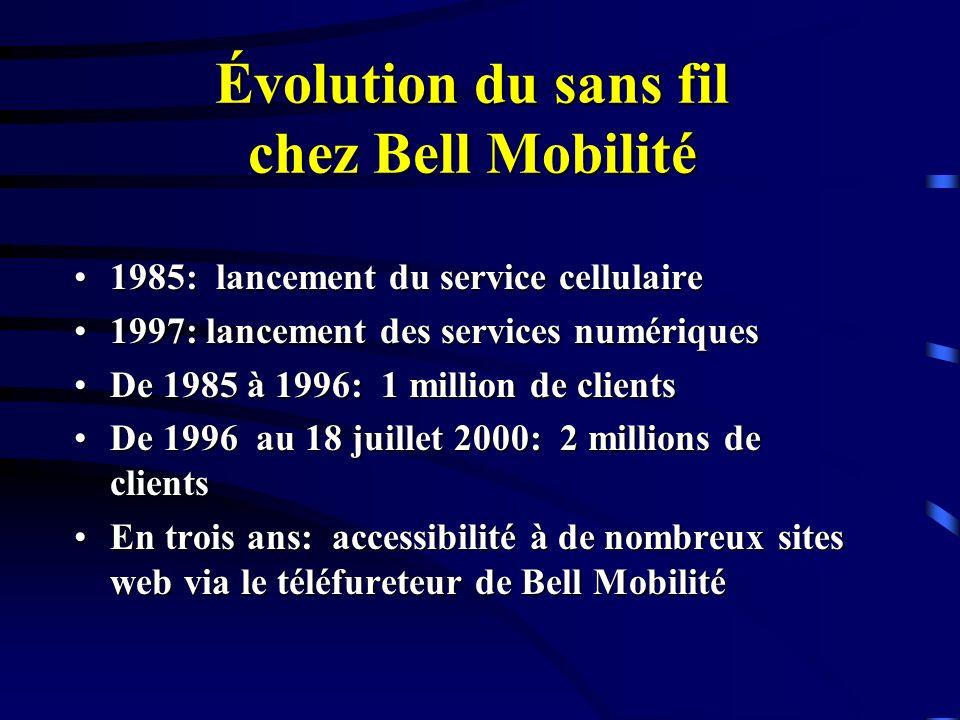 Évolution du sans fil chez Bell Mobilité 1985: lancement du service cellulaire1985: lancement du service cellulaire 1997: lancement des services numériques1997: lancement des services numériques De 1985 à 1996: 1 million de clientsDe 1985 à 1996: 1 million de clients De 1996 au 18 juillet 2000: 2 millions de clientsDe 1996 au 18 juillet 2000: 2 millions de clients En trois ans: accessibilité à de nombreux sites web via le téléfureteur de Bell MobilitéEn trois ans: accessibilité à de nombreux sites web via le téléfureteur de Bell Mobilité
