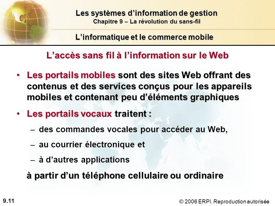 9.11 Les systèmes dinformation de gestion Chapitre 9 – La révolution du sans-fil © 2006 ERPI.