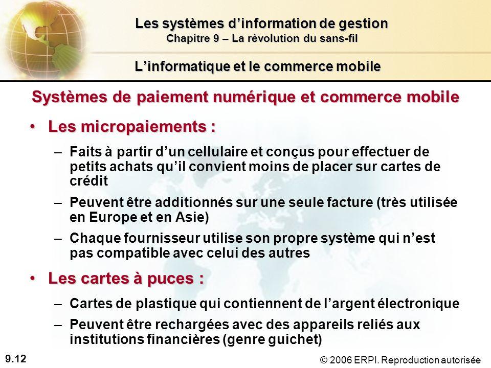 9.12 Les systèmes dinformation de gestion Chapitre 9 – La révolution du sans-fil © 2006 ERPI.